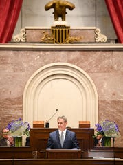 Gov. Bill Lee gives his first State of the State address at the state Capitol in Nashville on Monday.
