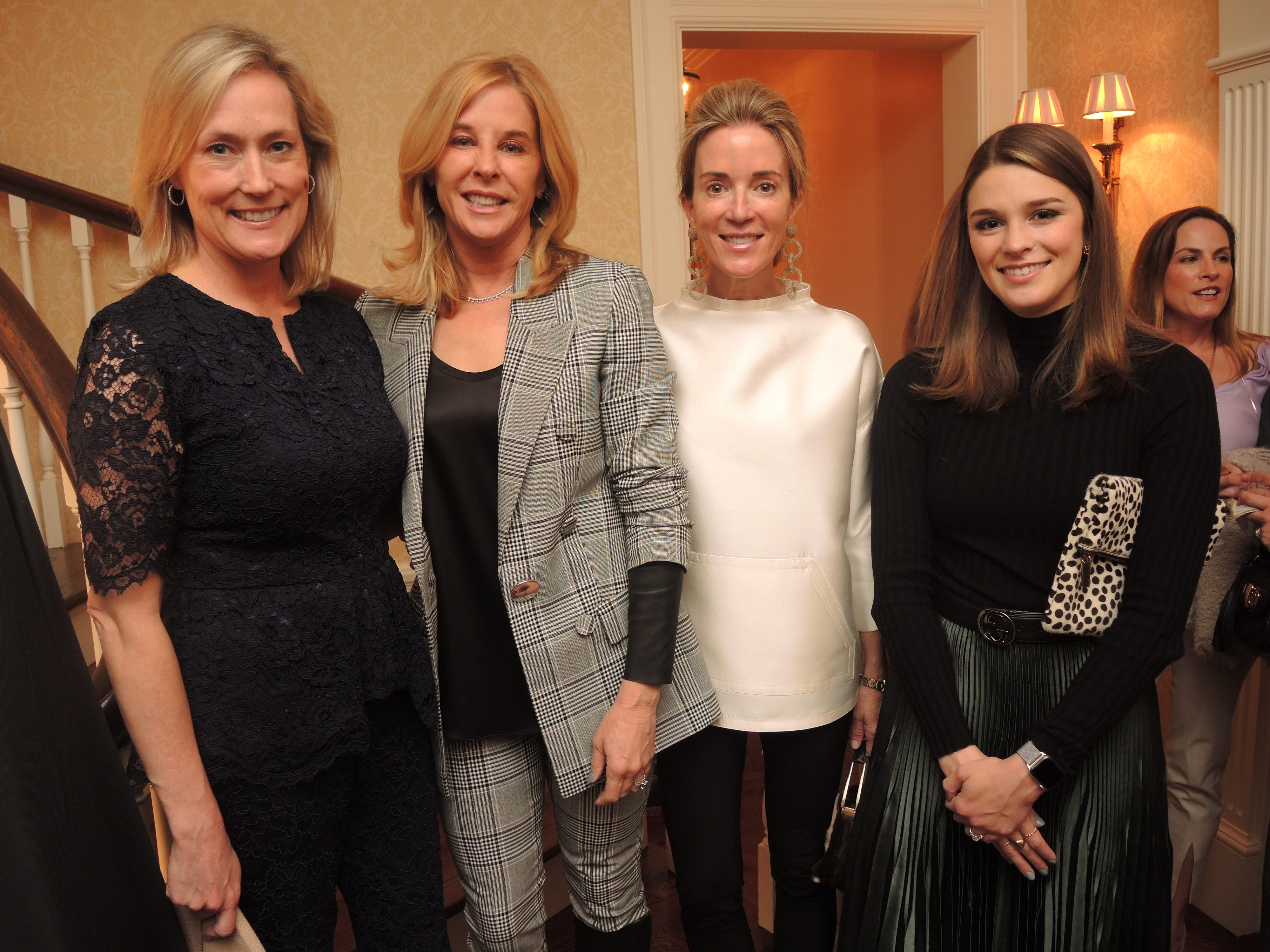 Anne Maradik, left, Barby White, Nan Cox and Molly White at the Swan Ball 2019 Unveiling, held at the home of Kathy and Bobby Rolfe.