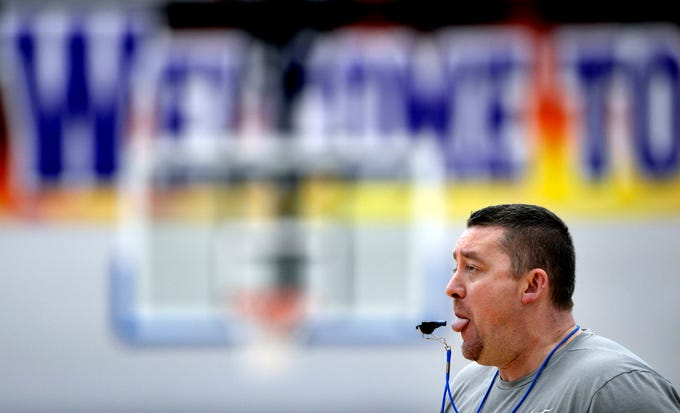 Lebanon High School girls basketball coach Cory Barrett blows his whistle during a team  practice on Monday, March 4, 2019, in Lebanon Tenn. Lebanon is preparing for the state playoffs.