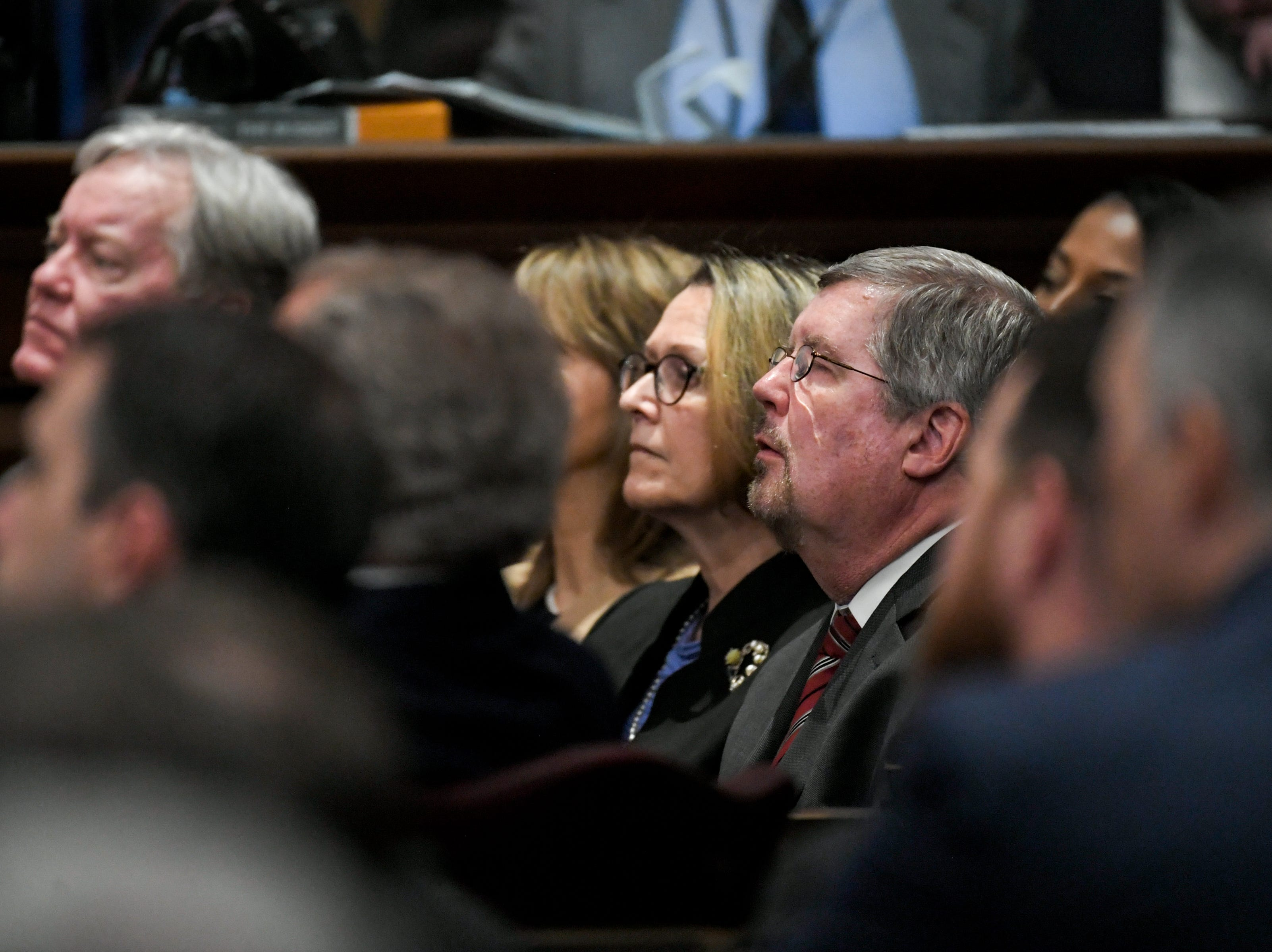 Tennessee Supreme Court Chief Justice Jeffrey Bivins and Tennessee Supreme Court Justice Connie Clark listen to Gov. Bill Lee give his first State of the State address before a joint session of the Tennessee General Assembly inside the House chambers at the state Capitol in Nashville on Monday, March 4, 2019.