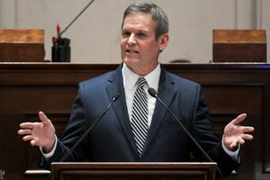 Gov. Bill Lee giving his State of the State address in Nashville on Monday, March 4, 2019. On Friday, Gov. Lee visited Savannah to assess the flooding in Hardin County.