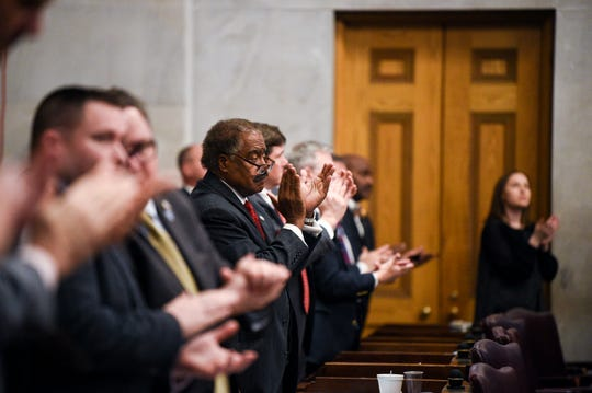 Lawmakers applaud Gov. Bill Lee during his first State of the State address before a joint session of the Tennessee General Assembly inside the House chambers at the state Capitol in Nashville on Monday, March 4, 2019.