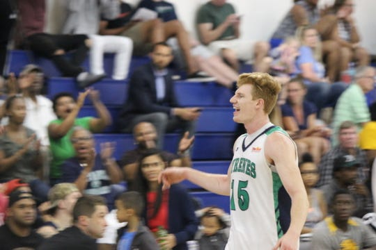 Junior Leo Behrend leads Ave Maria in scoring and rebounding this season.
