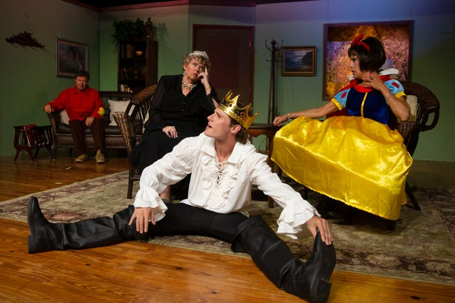 """The Studio Players actors, from left,  Jay Terzis, Paula Keenan, Daniel Byron and Hollis Galman, rehearse a scene from """"Vanya and Sonia and Mash and Spike"""",  Monday, March 4, 2019 at the Golden Gate Community Center's Joan Jenks Auditorium."""