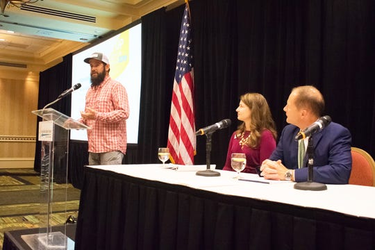 A panel of environmental experts discuss water quality at the Naples Chamber Wake Up Naples breakfast on Feb. 13.