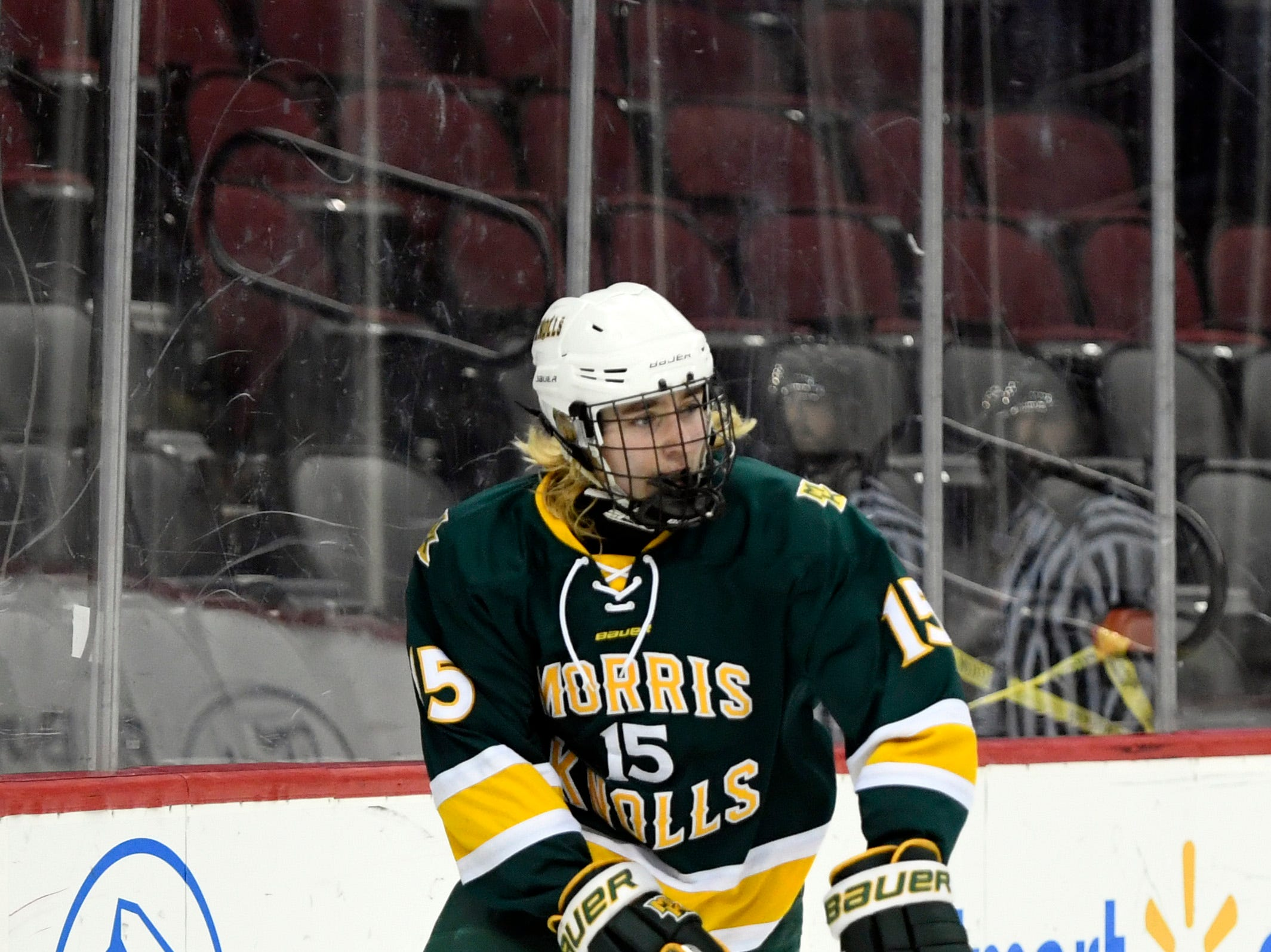 Morris Knolls/Hills' Timmy Kepler (15) in the third period. Morris Knolls/Hills defeats Hillsborough 6-1 in the Public A ice hockey final at the Prudential Center on Monday, March 4, 2019, in Newark.
