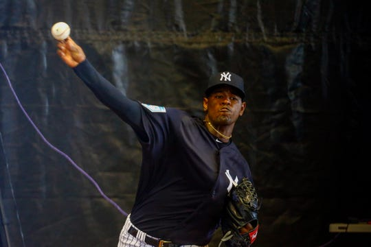 Tampa, FL, USA; New York Yankees starting pitcher Luis Severino (40) pitches during spring training at George M. Steinbrenner Field.