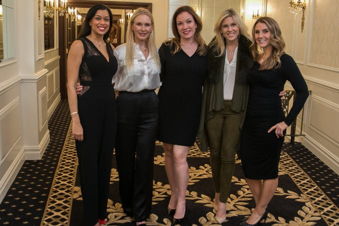 Reshma Thomas, Jennifer Ruffino, Megan James, Lore Cardellla, Lisa Guttilla. Spring Lake Toys Foundation held it's Night on the Town Gala at Macaluso's in Hawthorne. Money raised benefits children with illnesses to assist in all their financial needs. 03/01/2019