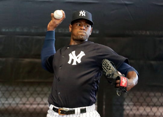New York Yankees starting pitcher Luis Severino throws in the bullpen at the Yankees spring training baseball facility, in Tampa, Fla. Severino has been scratched from his first scheduled spring training start due to right shoulder discomfort. Severino was slated to face the Atlanta Braves on Tuesday, March 5, 2019,  but was replaced by Stephan Tarpley.