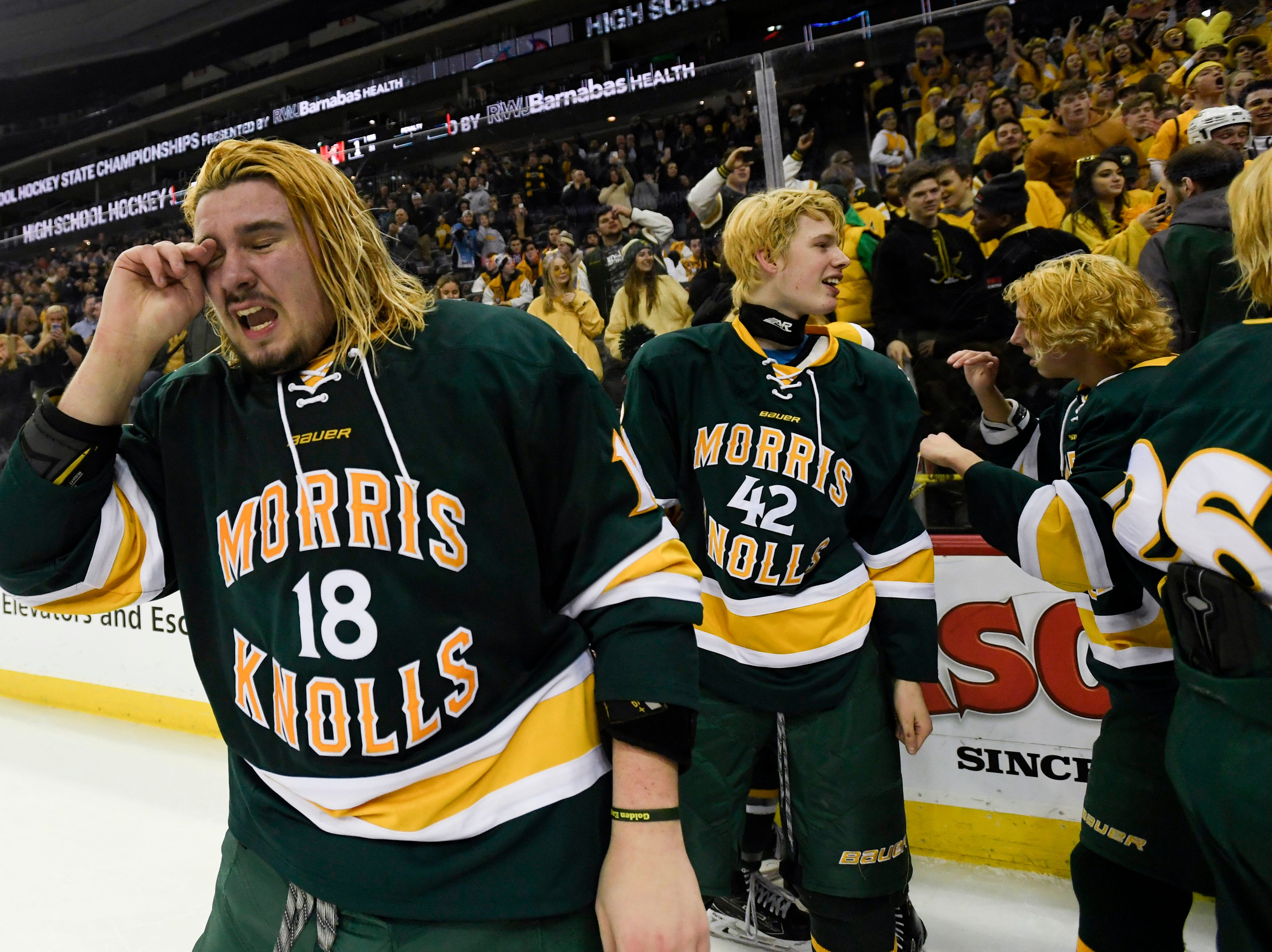 Morris Knolls/Hills? Jason Moskowitz (18) cries after winning the Public A ice hockey title over Hillsborough at the Prudential Center on Monday, March 4, 2019, in Newark.