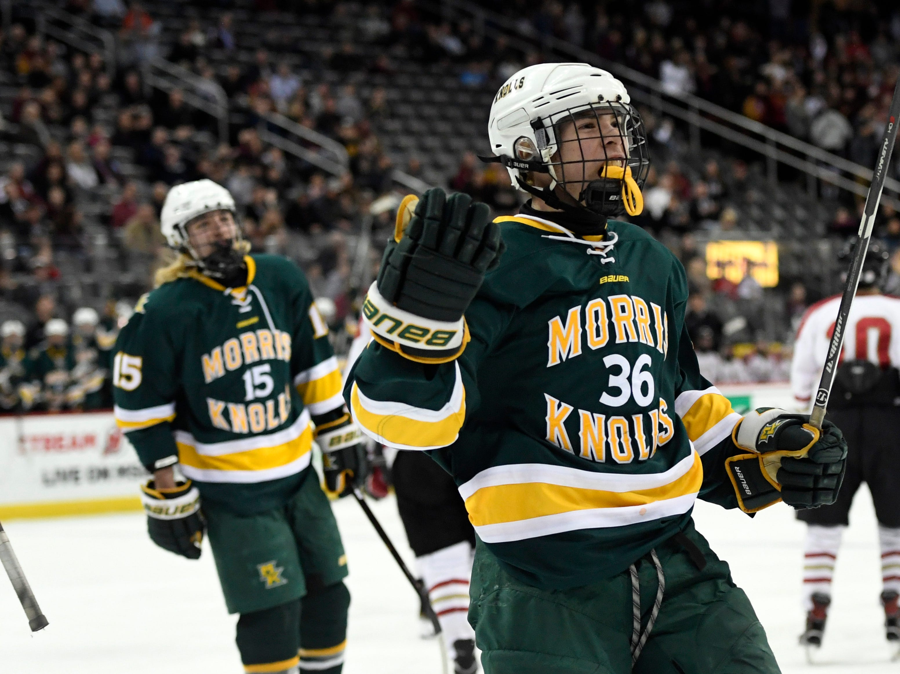 Morris Knolls/Hills' Jason Kwestel (36) celebrates his goal in the second period in the Public A ice hockey final at the Prudential Center on Monday, March 4, 2019, in Newark.