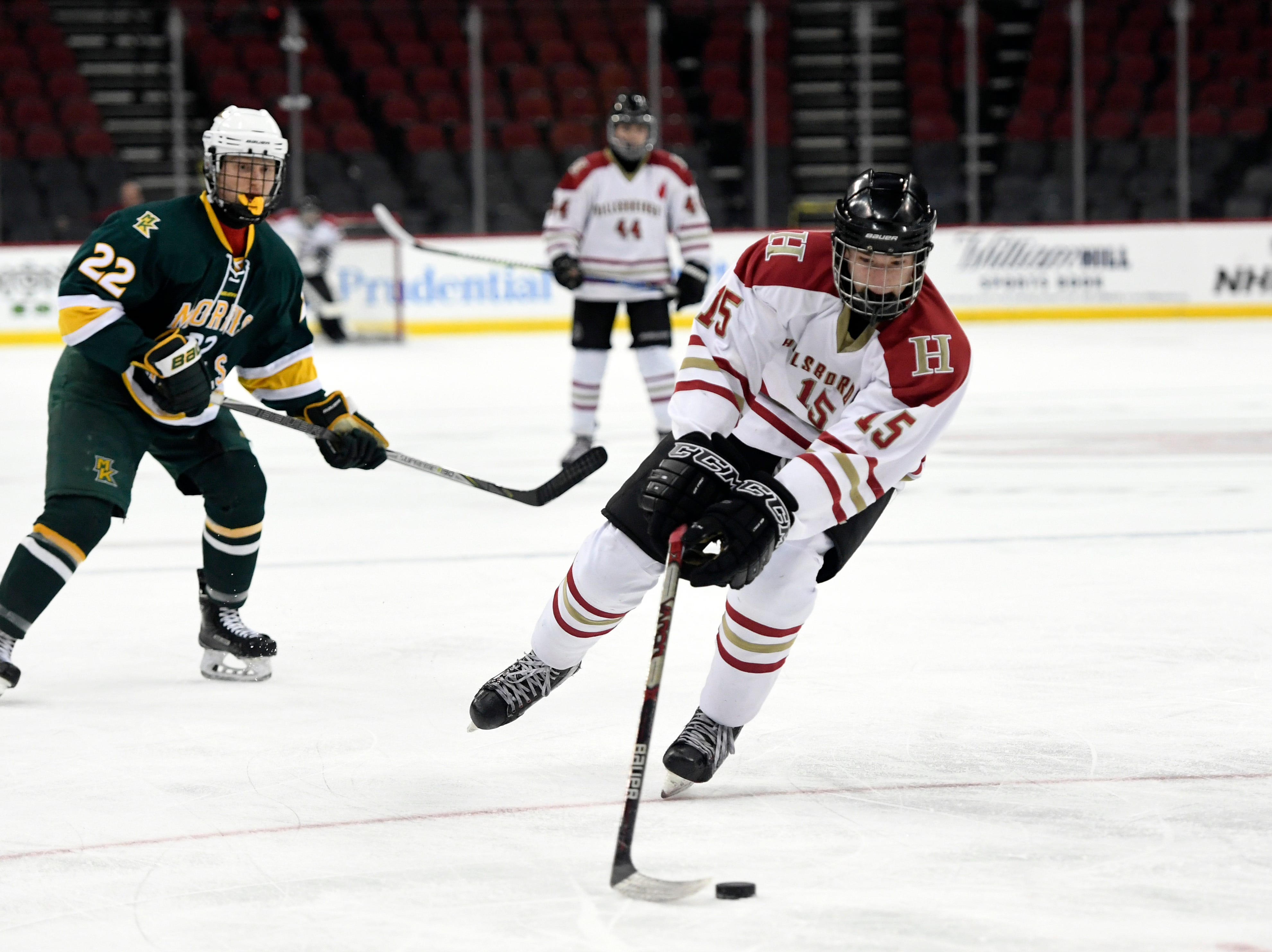 Hillsborough's Lleyton Soares (15) in the first period. in the Public A ice hockey finals at the Prudential Center on Monday, March 4, 2019, in Newark.