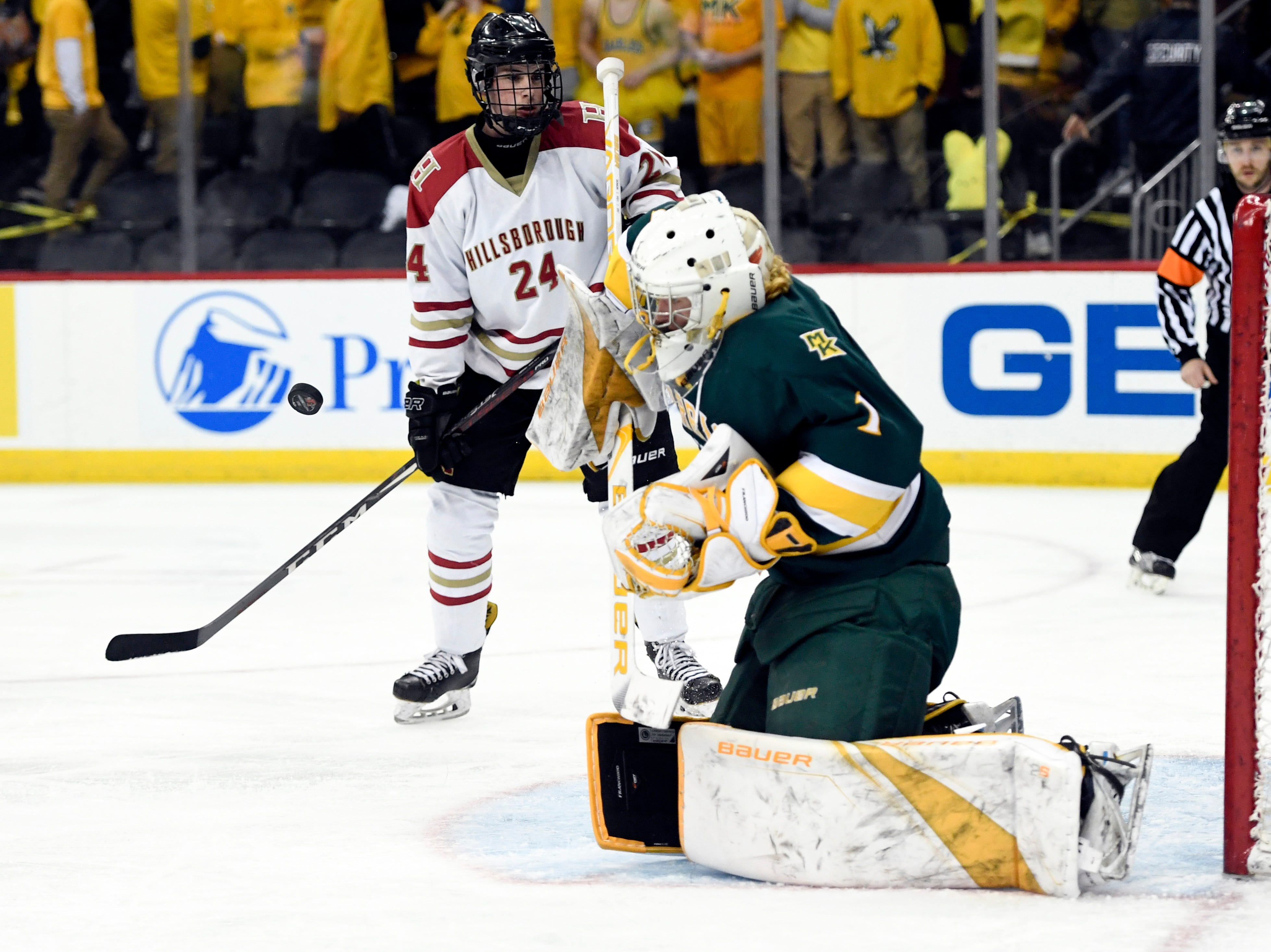 Morris Knolls/Hills goalie Ty Franchi blocks a shot in the first period during the Public A ice hockey final at the Prudential Center on Monday, March 4, 2019, in Newark.