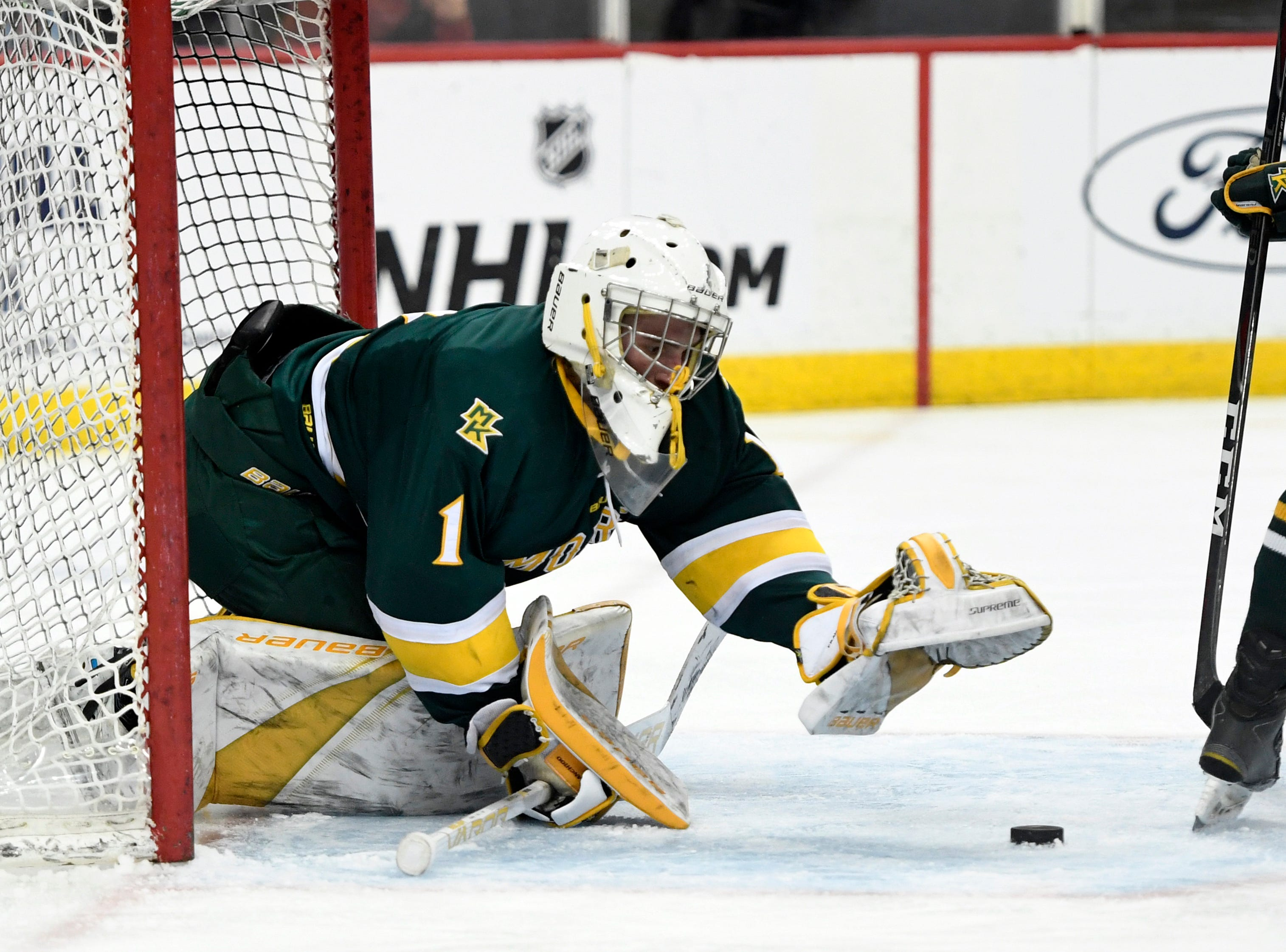 Morris Knolls/Hills goalie Ty Franchi makes a save against Hillsborough in the third period. Morris Knolls/Hills defeats Hillsborough 6-1 in the Public A ice hockey final at the Prudential Center on Monday, March 4, 2019, in Newark.