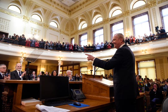Gov. Phil Murphy waits during applause before beginning his second state budget speech on Tuesday, March 5, 2019, in Trenton.