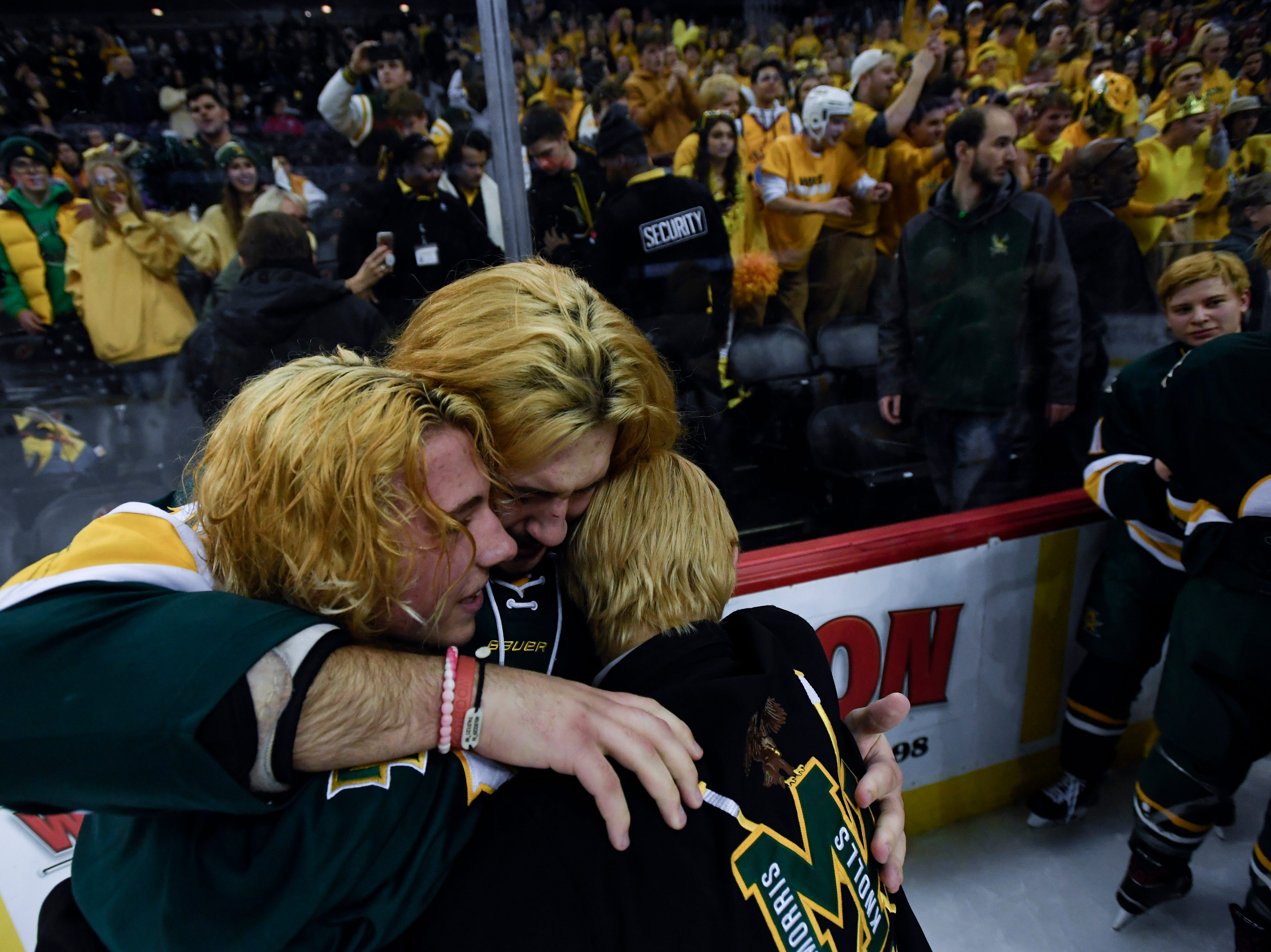 Morris Knolls/Hills players celebrate on the ice after defeating Hillsborough 6-1 in the Public A ice hockey final at the Prudential Center on Monday, March 4, 2019, in Newark.