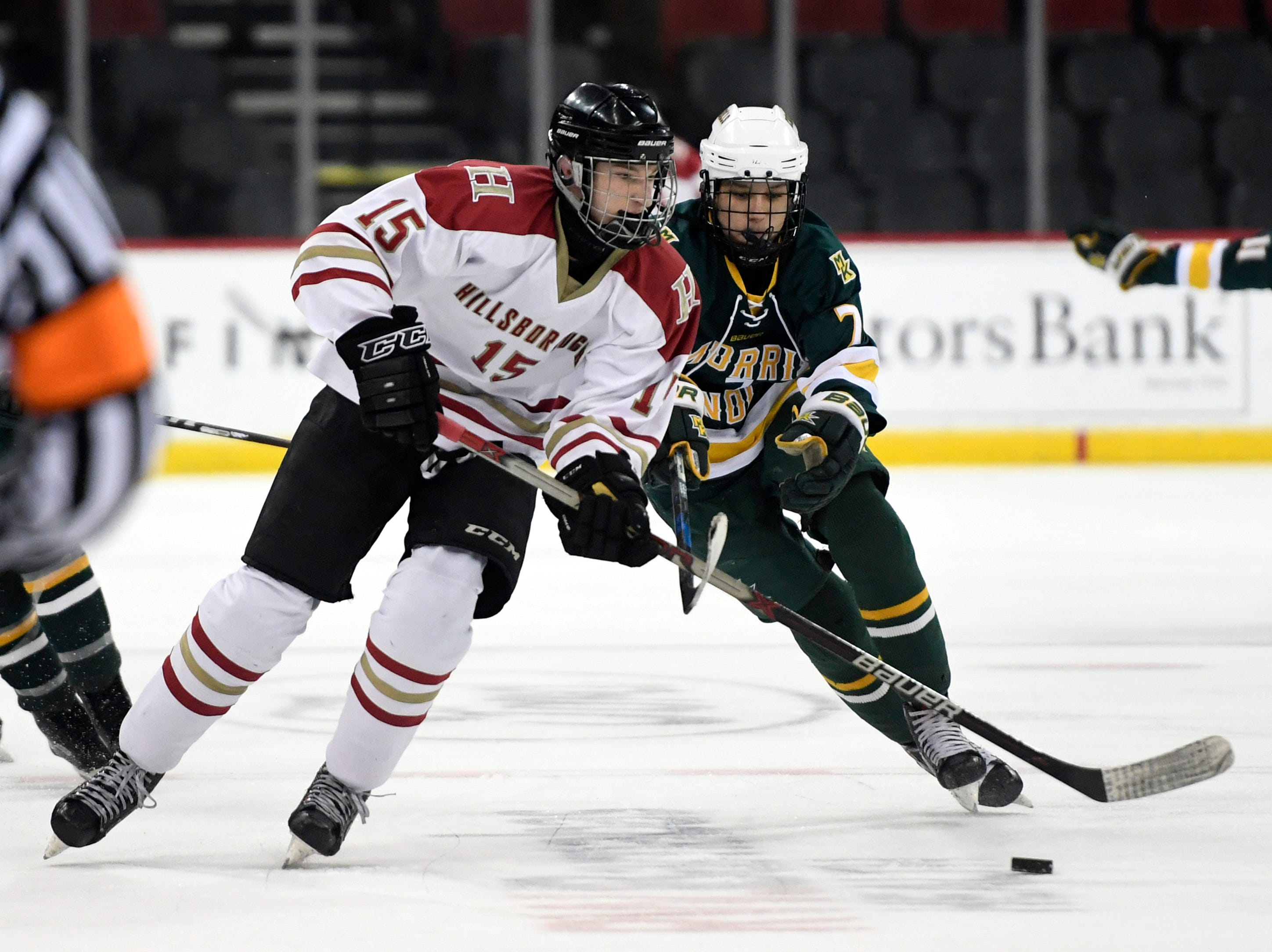 Hillsborough's Lleyton Soares (15) plays against Morris Knolls/Hills in the Public A ice hockey final at the Prudential Center on Monday, March 4, 2019, in Newark.