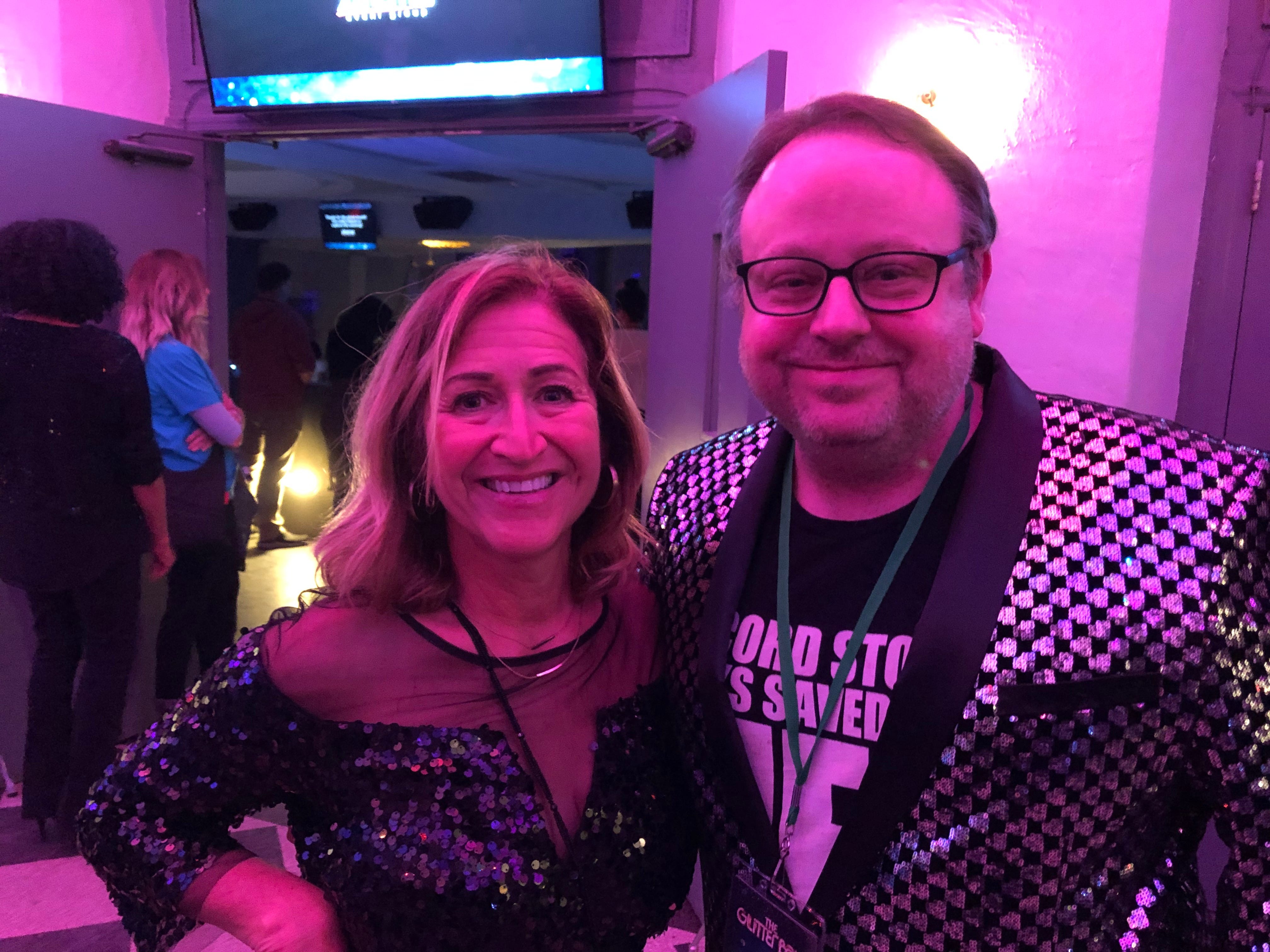 Tom Hall, executive director of the Montclair Film Festival, with novelist Laurie Lico Albanese at the Montclair Film Festival's Glitter Ball. March 2019.