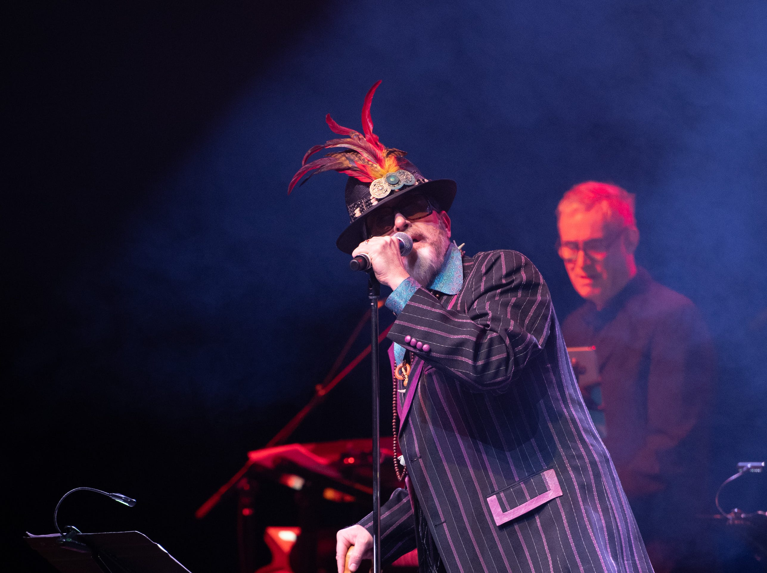 """Stephen Colbert sings Dr. John's R & B classic, """"Right Place, Wrong Time"""" at the Dance Floor Celebration Of Soul, R&B And Funk at The Wellmont Theatre, a benefit for Montclair Film Festival. March, 2019."""