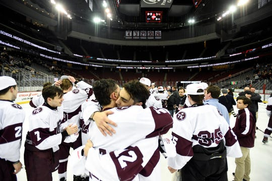 Don Bosco defeats Delbarton 3-1 in the Non-Public ice hockey final at the Prudential Center on Monday, March 4, 2019, in Newark.