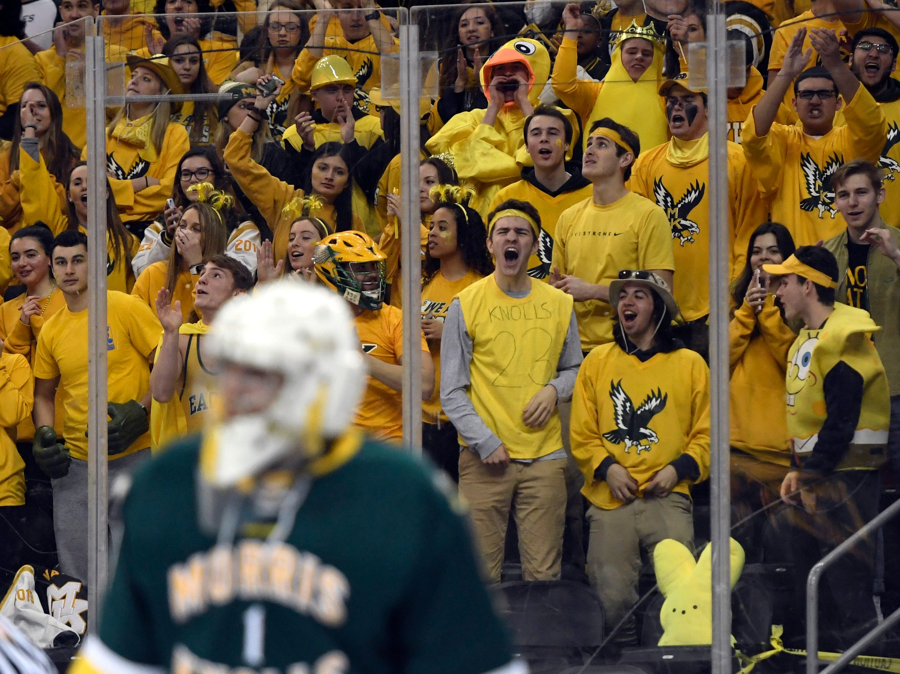 The Morris Knolls/Hills student section cheers for goalie Ty Franchi after a save against Hillsborough in the Public A ice hockey final at the Prudential Center on Monday, March 4, 2019, in Newark.