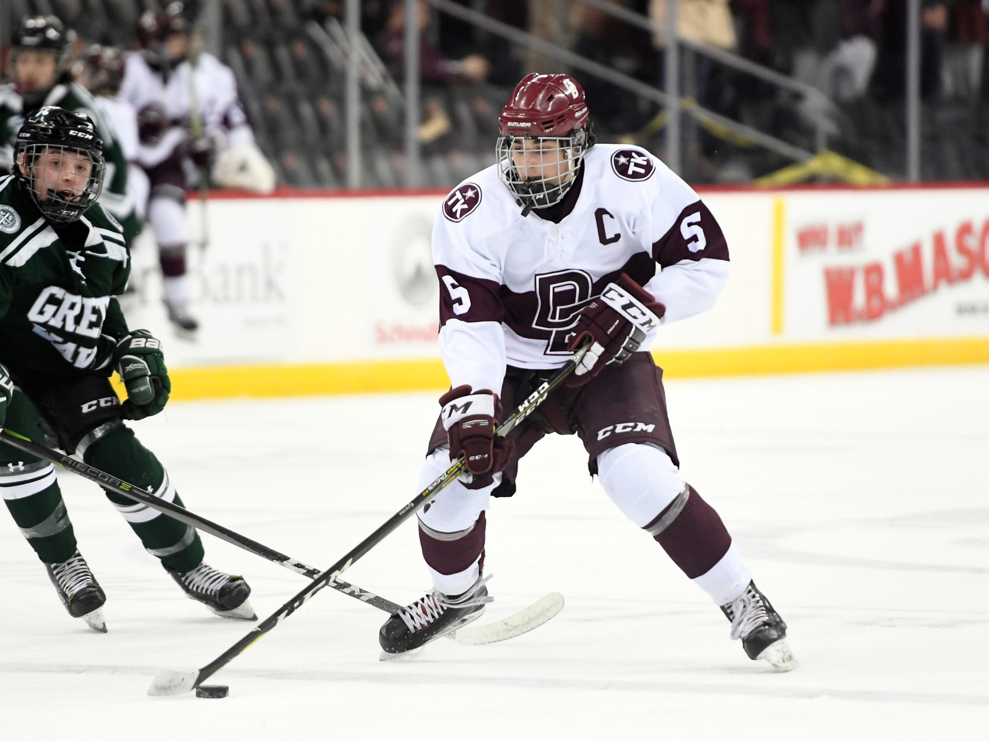 Don Bosco's Thomas Schweighardt (5) in the first period against Delbarton in the Non-Public ice hockey final at the Prudential Center on Monday, March 4, 2019, in Newark.