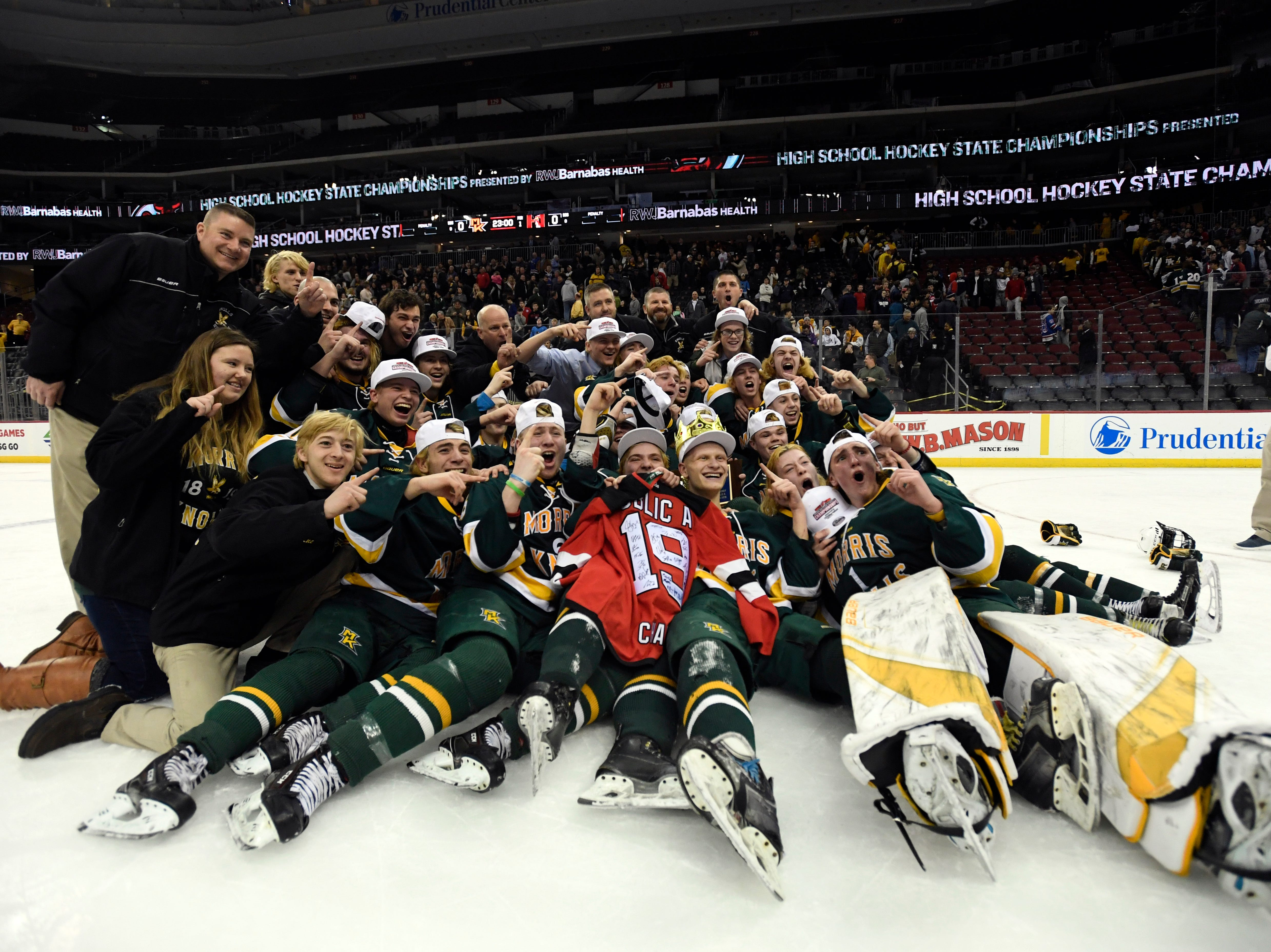 Morris Knolls/Hills defeats Hillsborough 6-1 in the Public A ice hockey final at the Prudential Center on Monday, March 4, 2019, in Newark.