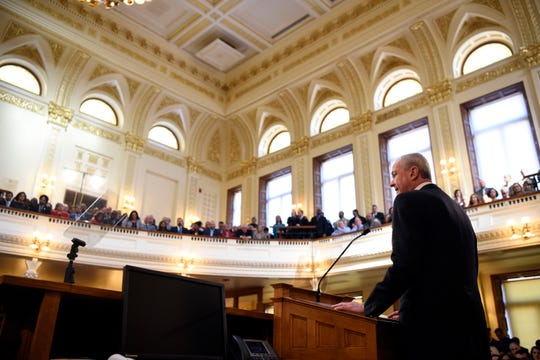Gov. Phil Murphy delivers a speech on the state budget on Tuesday, March 5, 2019, in Trenton.