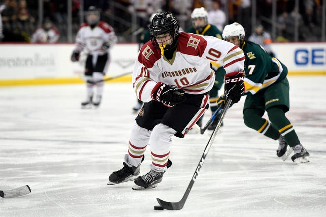 Hillsborough's Jude Kurtas (10) plays against Morris Knolls/Hills in the Public A ice hockey final at the Prudential Center on Monday, March 4, 2019, in Newark.