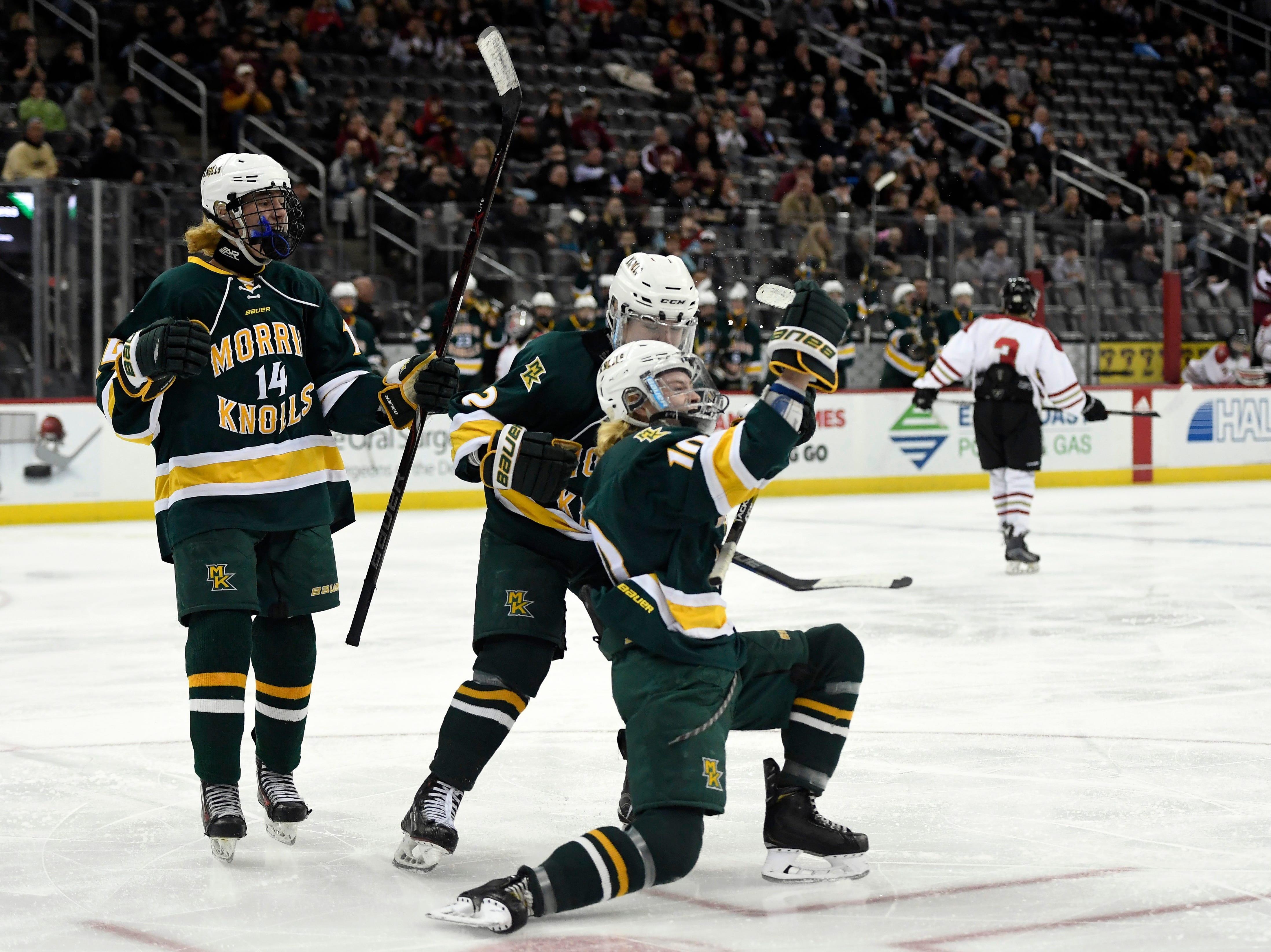 Morris Knolls/Hills' Sean Murray (10) celebrates his goal in the second period against Hillsborough in the Public A ice hockey final at the Prudential Center on Monday, March 4, 2019, in Newark.