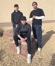 "Local rap talent, from left, manager Austin Brookhuser, Matthew ""L'l Shady"" Baca and Joaquin ""Silent Angel"" Angel, will perform at 7 p.m. on Friday at the Deming Public Schools Auditorium."