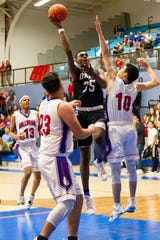 Oñate's Damione Thomas and the Knights play Las Cruces for the second time in a week on Saturday in the first round of the Class 5A boys basketball tournament.