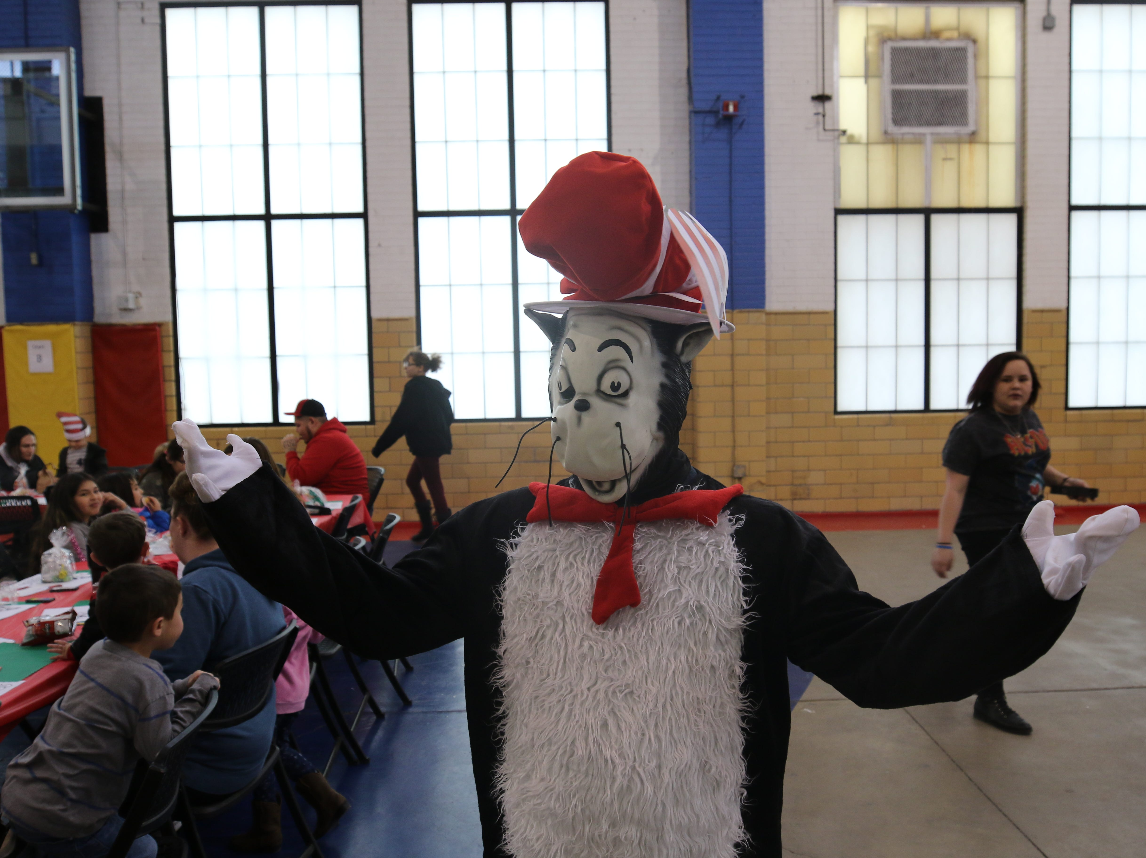 The Cat in the Hat graced the party at the Riverside Recreation Center March 4.