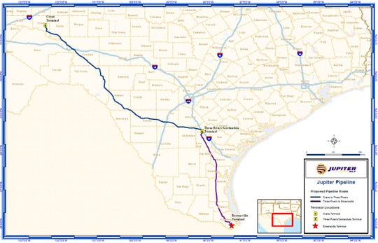 A map of the Jupiter crude oil pipeline extending from the Permian Basin to Brownsville, Texas.