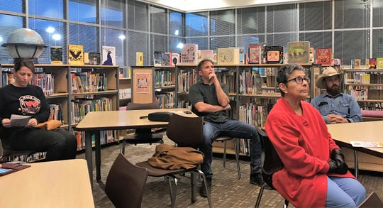 From left: Cori Abel, Daniel Cass. Herlinda Sisneros and Colt Howland listen to a presentation on the Two-Mill Capital Improvements Levy at a public forum at Desert Star Elementary Feb. 27.