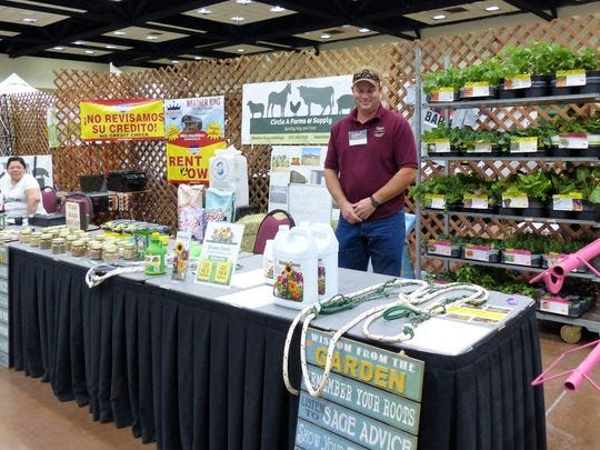 A vendor was ready to offer lawn care advice at last year's Mountain Living Home & Garden Show . The show is scheduled for March 16-17 at the at the Ruidoso Convention Center.