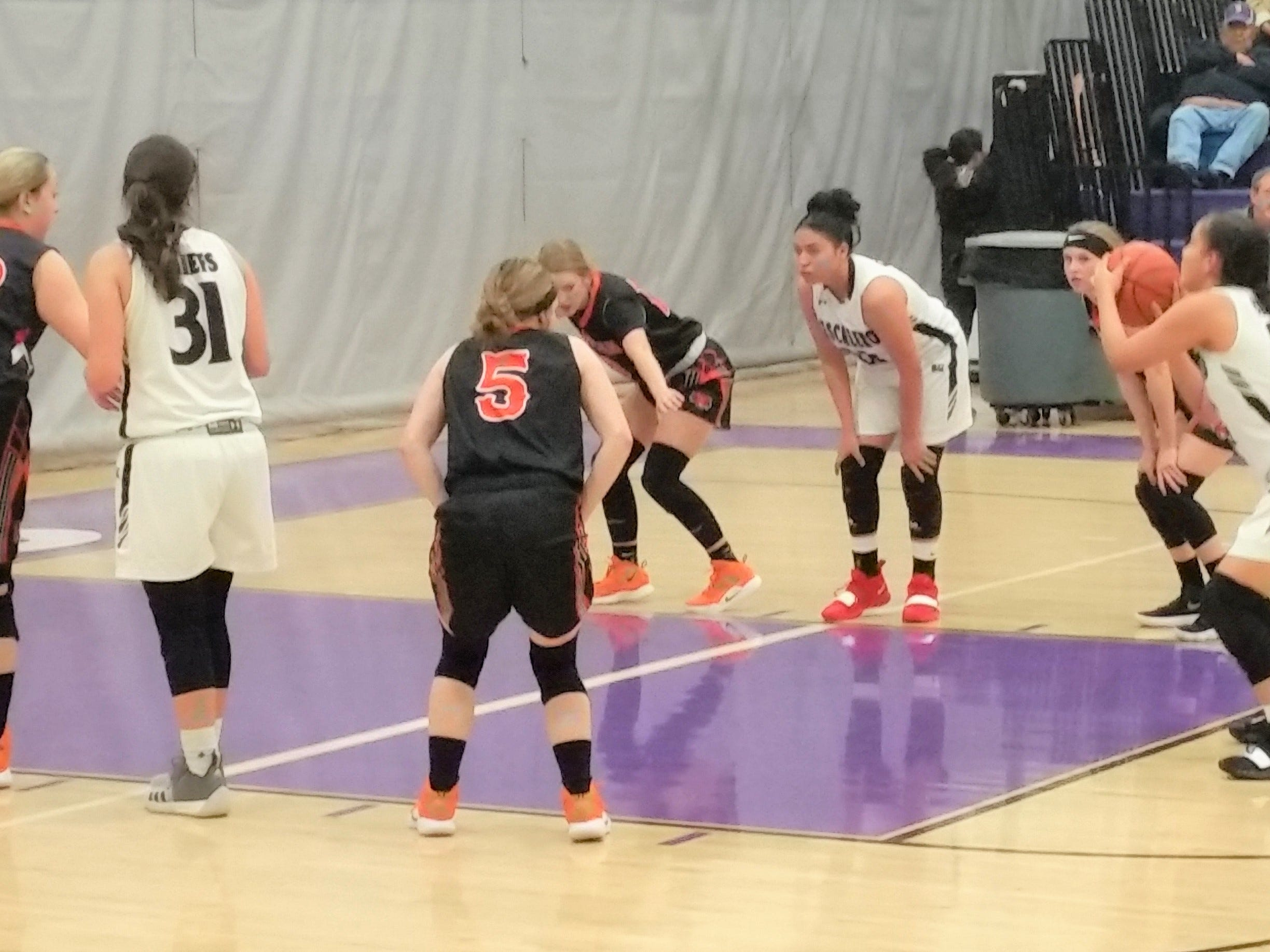 The Mescalero Lady Chiefs show off their skills at a game. The team will be hosting the district championship on March 8.
