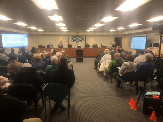 It was a packed room for the Lyon Township Board meeting on March 4, 2019 with many attendees concerned over a planned mixed use development to replace much of the existing Erwin Orchards.
