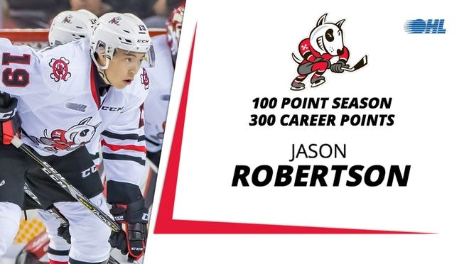 Northville native Jason Robertson scored his 300th career point in the OHL over the weekend.