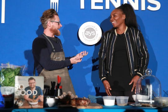 Richard Blais (L) and Venus Williams attend the Citi Taste Of Tennis Indian Wells on March 04, 2019 in Indian Wells.