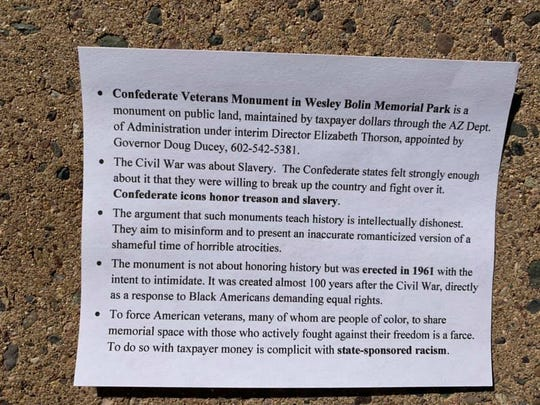 This flier lays out the grievances of protesters who showed up at the state Capitol on Tuesday, March 5 to protest the state's Confederate memorials.