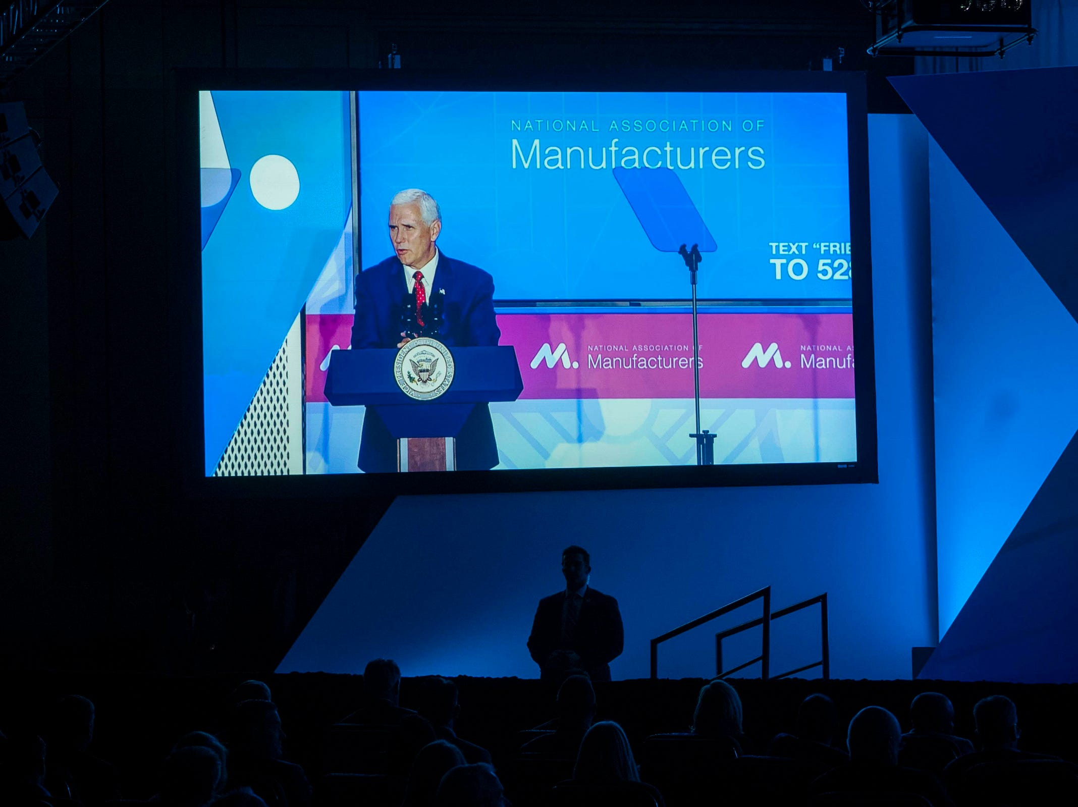 Vice President Mike Pence speaks to representatives of the National Association of Manufacturers at the Phoenician resort in Phoenix on March 5, 2019.