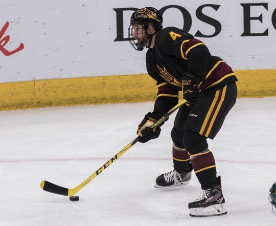 Arizona State University's Jacob Wilson (4) against Clarkson during the second period of their game in the 2018 Desert Hockey Classic in Glendale, Friday, Dec. 28, 2018.