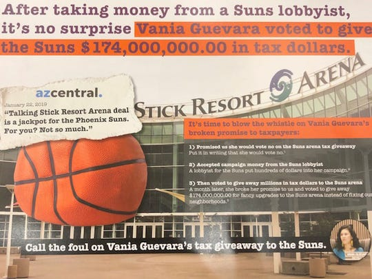 A campaign mailer criticizing Councilwoman Vania Guevara for her support of a Phoenix Suns arena deal.
