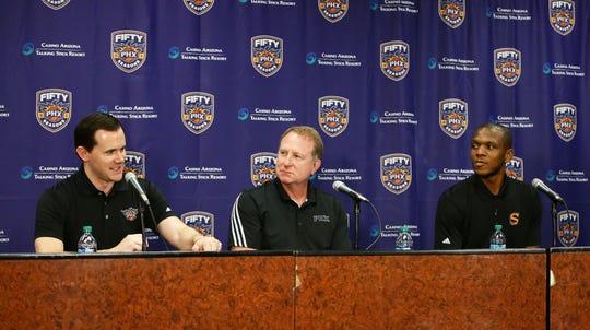 Former Suns General Manager Ryan McDonough, owner Robert Sarver and current interim General Manager James Jones speak at a news conference on  July 19, 2017 at Taking Stick Resort Arena.