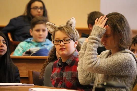 "The ""Big Bad Wolf,"" played by Cameron Brown, looked to settle his dispute with the ""Three Little Pigs"" in court and local students from Bataan Memorial Intermediate School gave him that chance Tuesday."