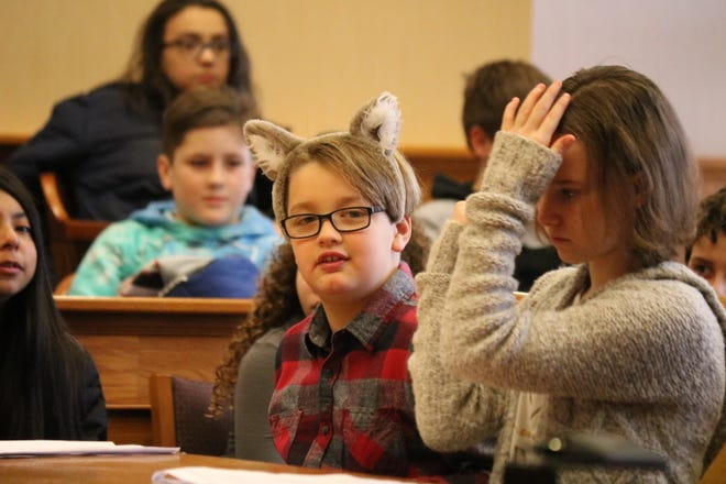 """The """"Big Bad Wolf,"""" played by Cameron Brown, looked to settle his dispute with the """"Three Little Pigs"""" in court and local students from Bataan Memorial Intermediate School gave him that chance Tuesday."""