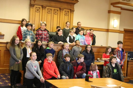 Emily Gerber, a magistrate in the Ottawa County Juvenile Court, presided over Bataan Memorial Intermediate School's mock trial on Tuesday.