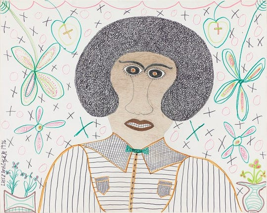 """Inez Nathaniel Walker (American, 1907-1990) """"Frontal Man,"""" 1976. Felt-tip pen, colored pencil and pencil on paper. Gift from the collection of Pat O'Brien Parsons, class of 1951."""