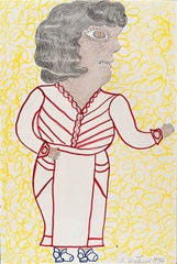 """Inez Nathaniel Walker (American, 1907-1990). """"Standing Woman with Raised Arm,"""" 1974. Felt-tip pen, colored pencil and pencil on paper. Bequest of Pat O'Brien Parsons, class of 1951."""